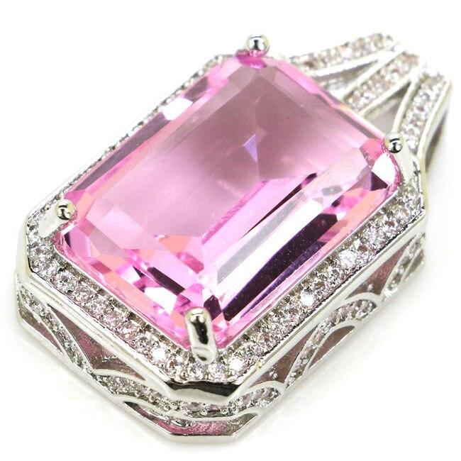 Romantic Rectangle 18x13mm Pink Kunzite White CZ Woman's 925 Silver Pendant 27x16mm