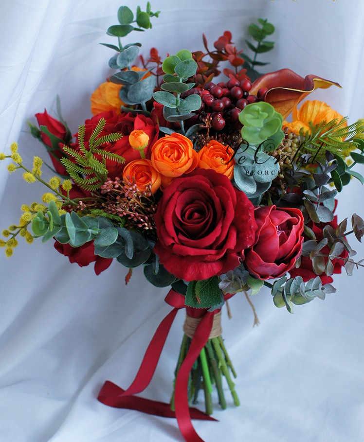 Peorchid 2019 Merah dan Orange Buket Bunga Peony Mawar Sentuhan Nyata Luar Ruangan Musim Semi Musim Gugur Pengantin Buket Pernikahan Bunga Pengantin Boquet