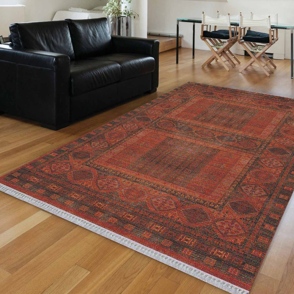 Else Orange Brown Persian Turkish Aging Design 3d Print Anti Slip Kilim Washable Decorative Kilim Area Rug Bohemian Carpet