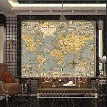 Retro style world ancient architecture culture distribution map TV background wall professional production wallpaper wall custom недорго, оригинальная цена