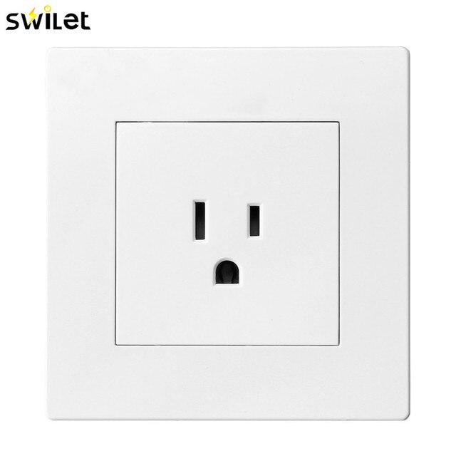 SWILET 86X86mm Nema Socket White American Socket Wall Power Outlet ...