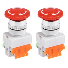 UXCELL 2Pcs 22mm Mounting Hole Latching Emergency Stop Push Button Switch Red NO+NC To Control The Electromagnetic Starter nc emergency stop no red green push button switch station 600v 10a