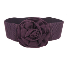 HOT SALE!New Practical Superior Purple Flower Design Buckle Elastic Waist Belt for Lady