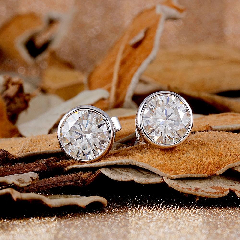 Transgems Solid 14K 585 White Gold 2CTW 6 5mm 1 Carat Moissanite Stud Earrings Bezel Setting Push Back Earrings for Women in Earrings from Jewelry Accessories