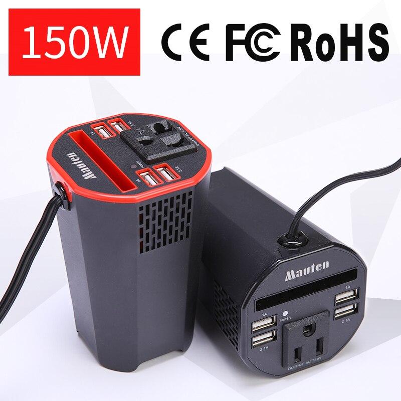 Die Neue Tasse typ Digitalisierung 150 watt Auto Inverter Power Inverter USB Smart Digital Display Inverter Ausgang Spannung 110 oder 220 v