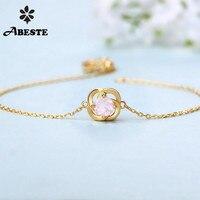 ANI 14K Yellow/White/Rose Gold Women Gemstone Bracelet Natural Garnet/Rose Quartz/Sky Blue Topaz Female Engagement Bracelet