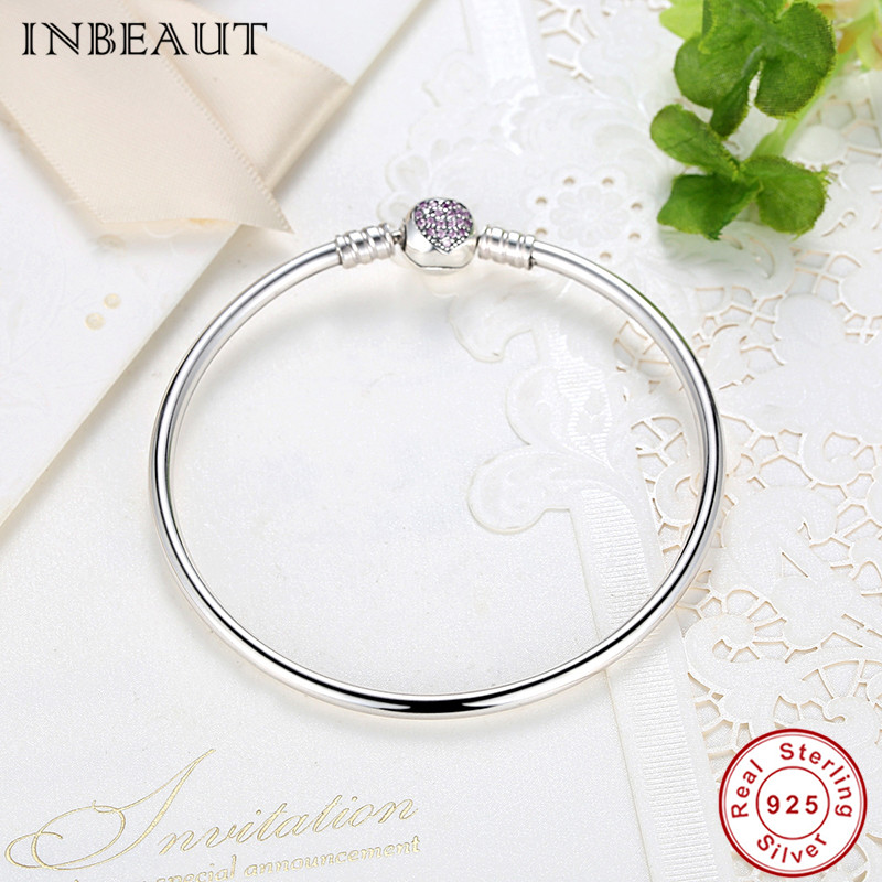 Image 2 - Hot Sale 925 Sterling Silver Purple Heart CZ Zircon Bangle Women 