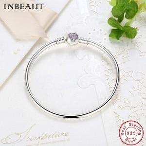 Image 2 - Hot Sale 925 Sterling Silver Purple Heart CZ Zircon Bangle Women Trendy Romantic Love S925 Stamp Charm Bracelet for Wedding Gift