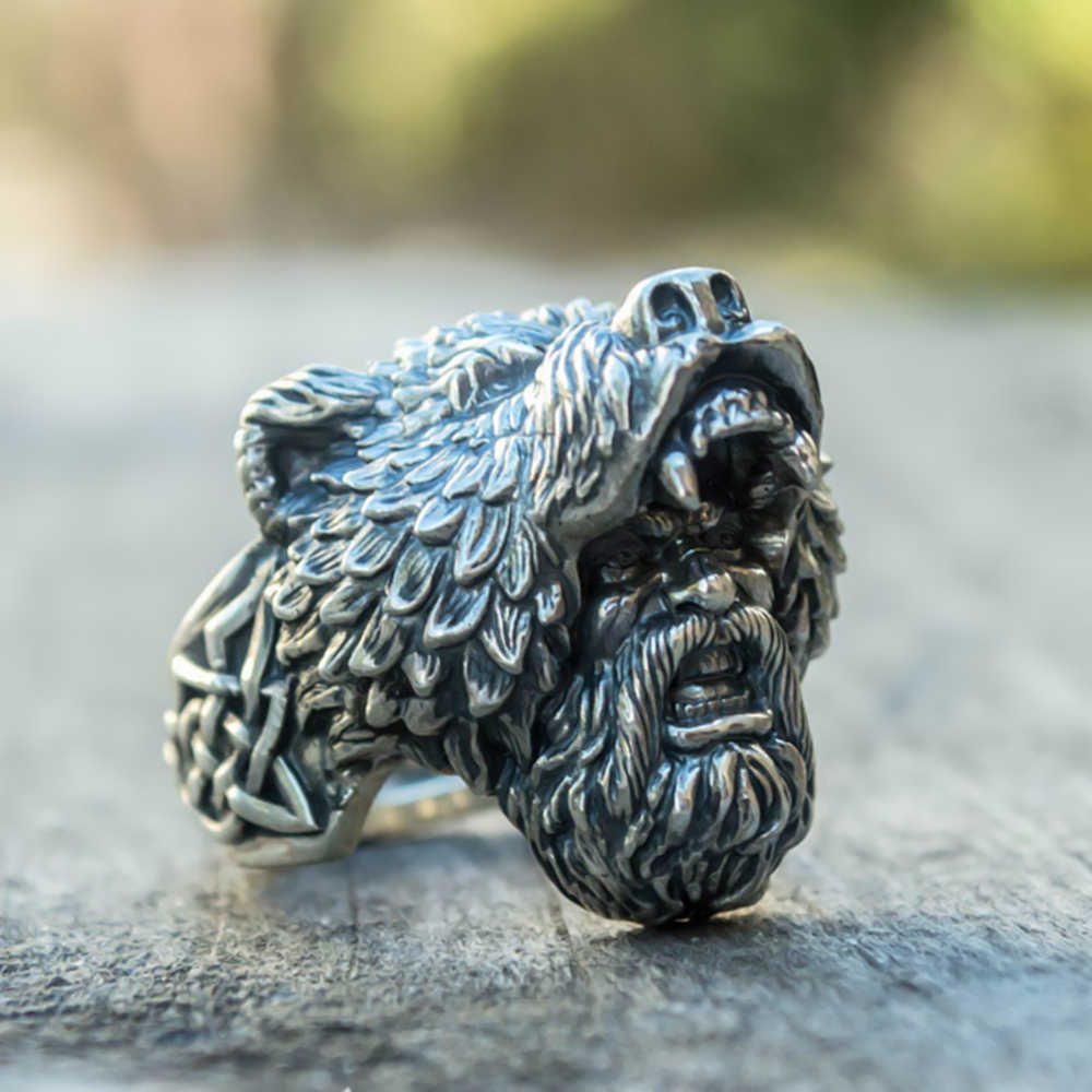 Mens Silver Color Viking Bear Warrior 316L Stainless Steel Biker Rings Vintage Vikings Nordic Jewelry