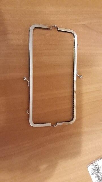 18cm vierkante metalen frame kus sluiting voor handvat tas portemonnee accessoires diy mode zilveren vintage vrouwen tas accessoires photo review