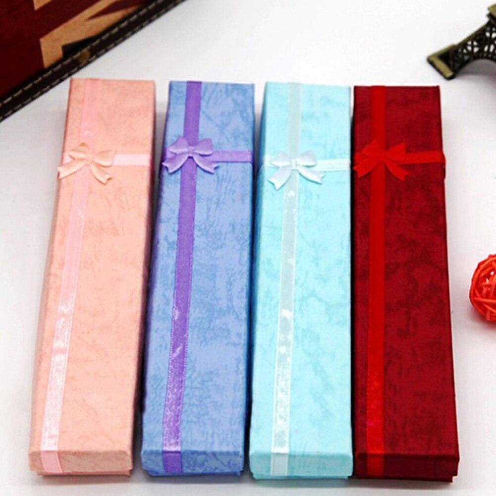 1 Stück Elegante Bowknot Lange Halskette Armband Display Aufbewahrungskoffer Schmuck Geschenk-box