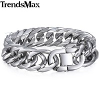 19 22mm Heavy Cut Double Curb Cuban Link Rombo Silver Color Mens Chain Boys 316L Stainless