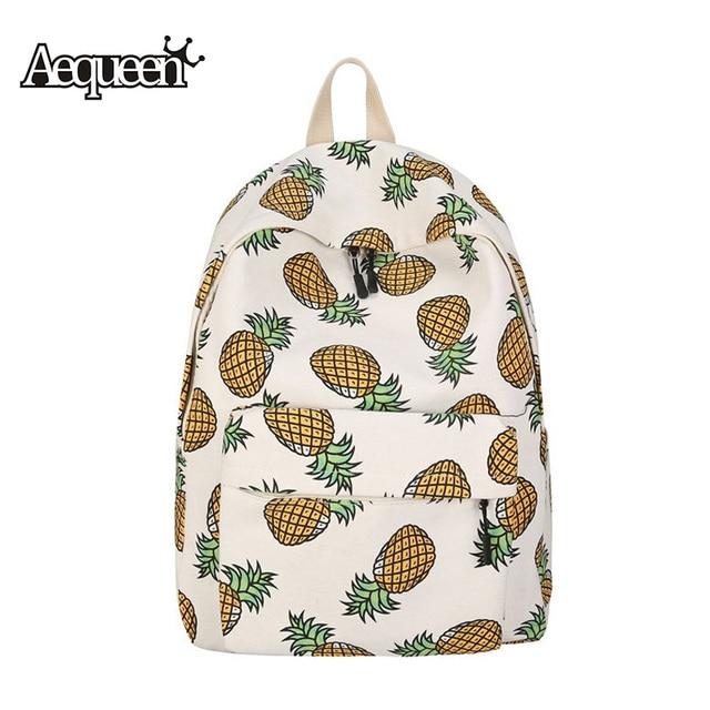 c941deb2e55b US $27.41 |AEQUEEN Cute Fruit Backpack Pineapple Print Schoolbag Teenage  Travel Mochila Daypack Girls Canvas Printing Backpacks-in Backpacks from ...