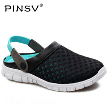 PINSV Summer Shoes Men Beach Slippers Men Sneakers Clogs Men Shoes Casual Footwear Zuecos Sandalias Zapatos Hombre Size 36-46