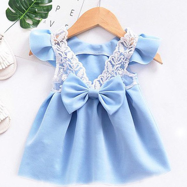Summer New 2019 Baby Girls Children's Floral Lemon Sling Bow Cotton Striped Cartoon Strap Dress Kids Princess Dresses