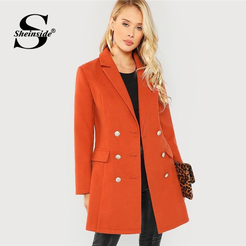 Sheinside ブラウン秋のコートの女性服長袖カジュアルなアウターウェア 2018 レディースダブルブレストノッチネックソリッドロングコート  グループ上の レディース衣服 からの ベーシックジャケット の中 1