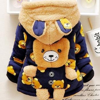 2018 Boys Girls Baby Autumn Winter Coat New 0-4 Years Old Children Cartoon Bear Thick Warm Tartan Cotton Clothing