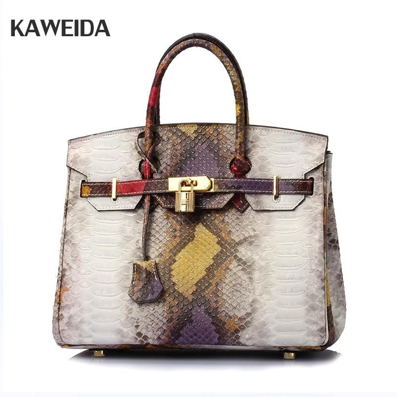 High Quality Women Handbag White Leather Serpentine Pattern Totes Lady Snake Patchwork Shoulder Bags For Women цены