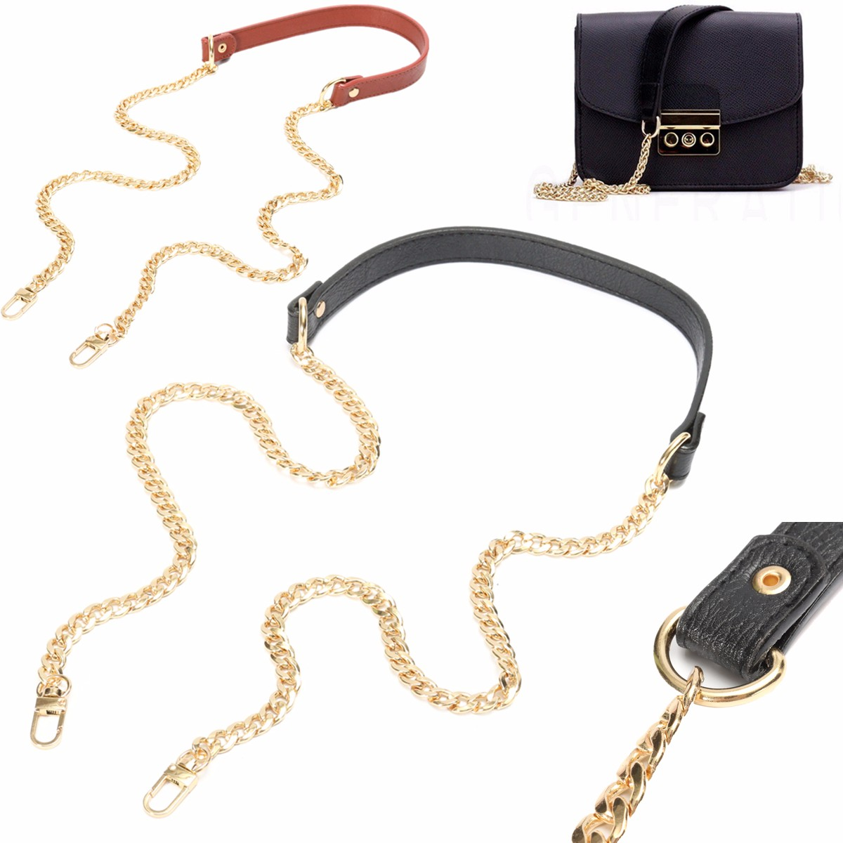 Bag Faux Leather Strap Replacement Metal Chain for Crossbody Shoulder Bag 120cm