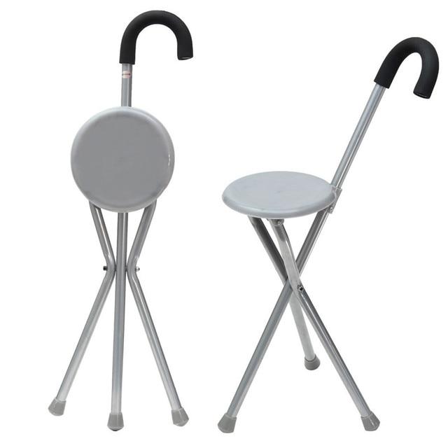 Beau Folding Iron Tripod Cane Hiking Chair Portable Walking Stick With Plastic  Seat Non Slip Feet Walking