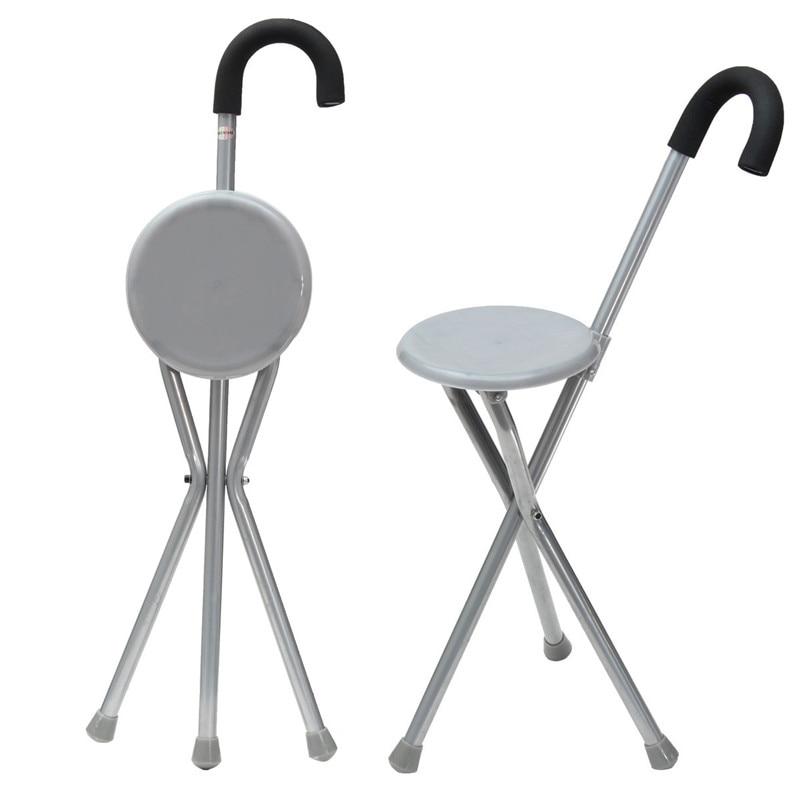 Trípode de hierro plegable caña de senderismo silla portátil bastón con asiento de plástico pies antideslizantes bastón herramienta exterior