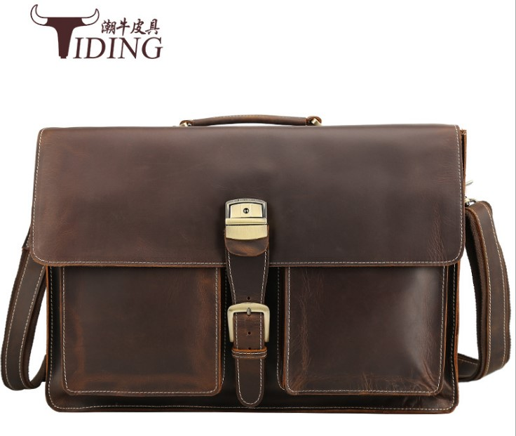 Mens Briefcases Cow Leather 17