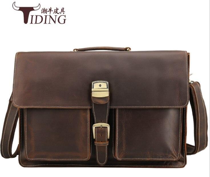Mens Carteiras de Couro de Vaca 17 Laptop Negócio Bolsas de Viagem de Grande Capacidade Big Bags