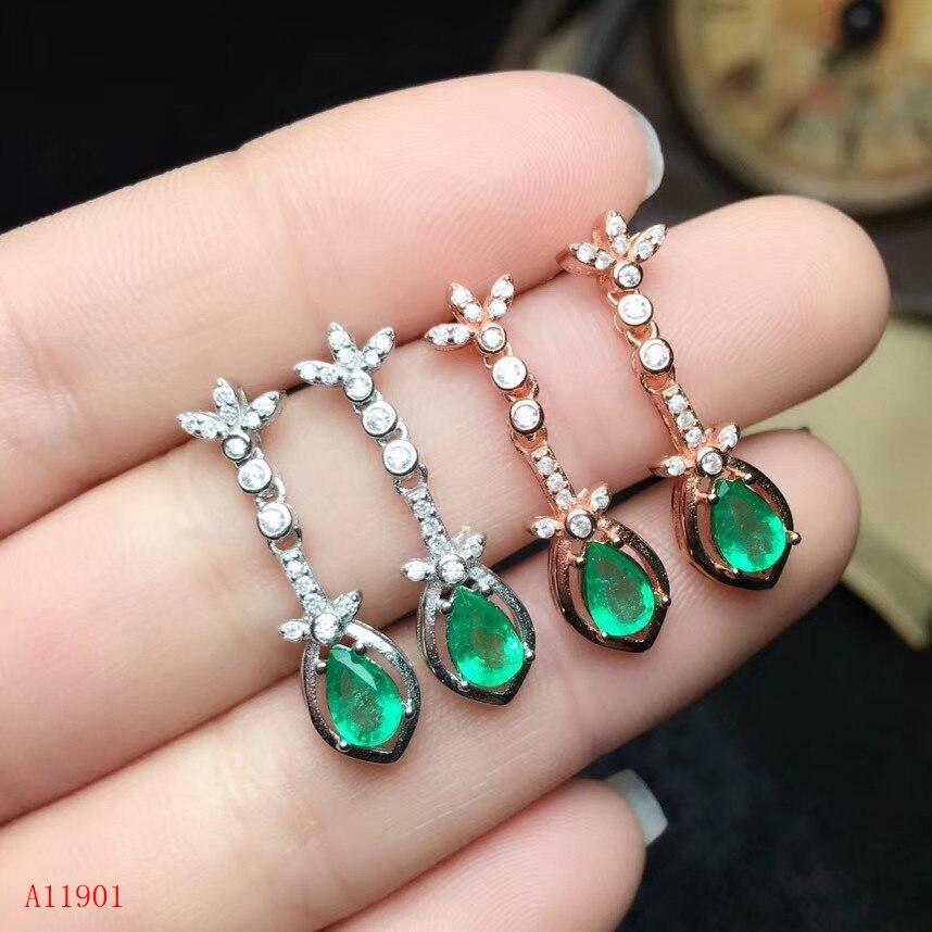 KJJEAXCMY boutique bijoutier 925 argent incrusté naturel émeraude fille Mini boucles d'oreilles soutien détection