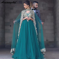 Зеленый мусульманские Вечерние платья 2018 A Line v образным вырезом прозрачная ткань с аппликацией и стразами ислам Дубаи Саудовская Арабский