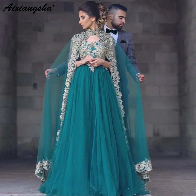 Green Muslim   Evening     Dresses   2018 A-line V-neck Tulle Appliques Beaded Islamic Dubai Saudi Arabic Long Elegant   Evening   Gown