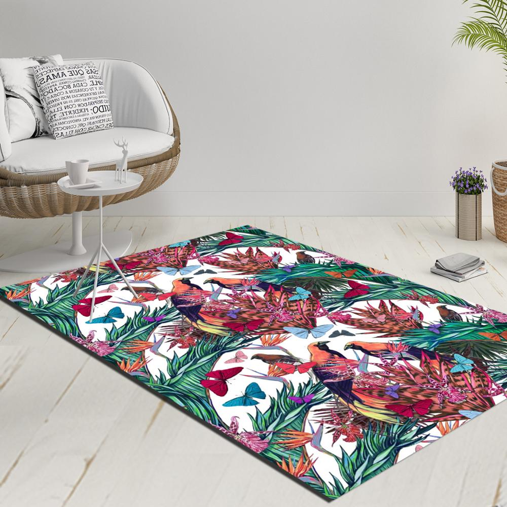 Else White Floor Tropical Birds Purple Flowers Green Leaves 3d Print Anti Slip Kilim Washable Decorative Kilim Rug Modern Carpet