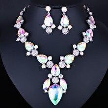 Farlena Jewelry изысканный капли воды Цепочки и ожерелья серьги Наборы Мода Многоцветный Ювелирные изделия из кристаллов наборы для Для женщин свадебные
