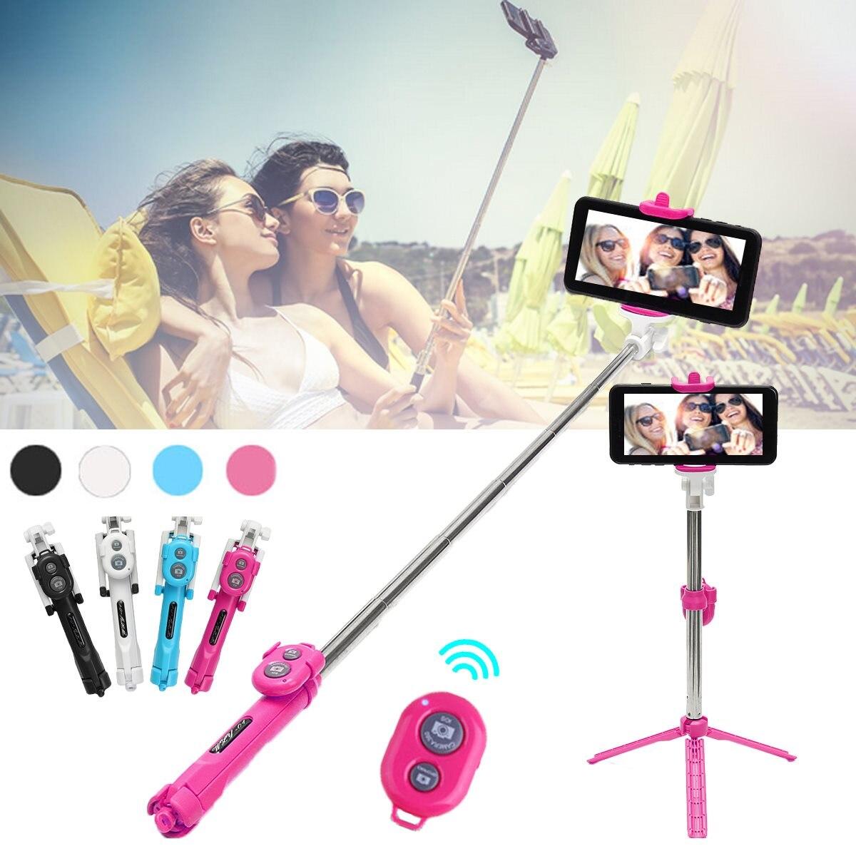 Nuevo Universal Bluetooth Selfie Stick + trípode + obturador Monopod inalámbrico para iPhone 7 7 más 5 6 6 S más auto-temporizador para Samsung