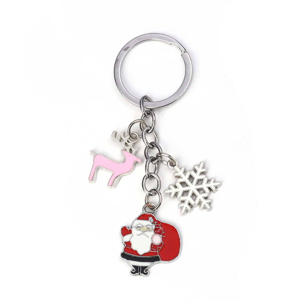 Doreen Box <font><b>Keychain</b></font> Christmas Santa Claus Silver Color White Red Christmas Snowflake Enamel 9.7cm(<font><b>3</b></font> 7/8
