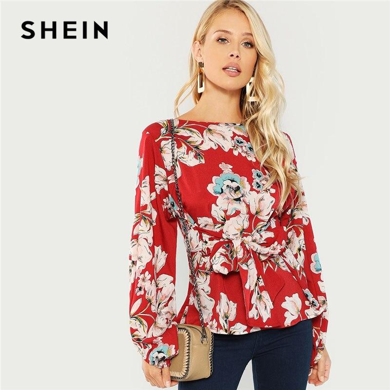 SHEIN Burgund Knoten Vorne Floral Print Bluse Elegante Beiläufige Rundhals Langarm Blusen Frauen Herbst Moderne Dame Tops