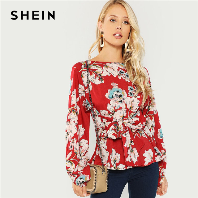 SHEIN Burgundy Knot Front Floral Print Blouse Elegant Casual Round Neck Long Sleeve Blouses Women Autumn Modern Lady Tops