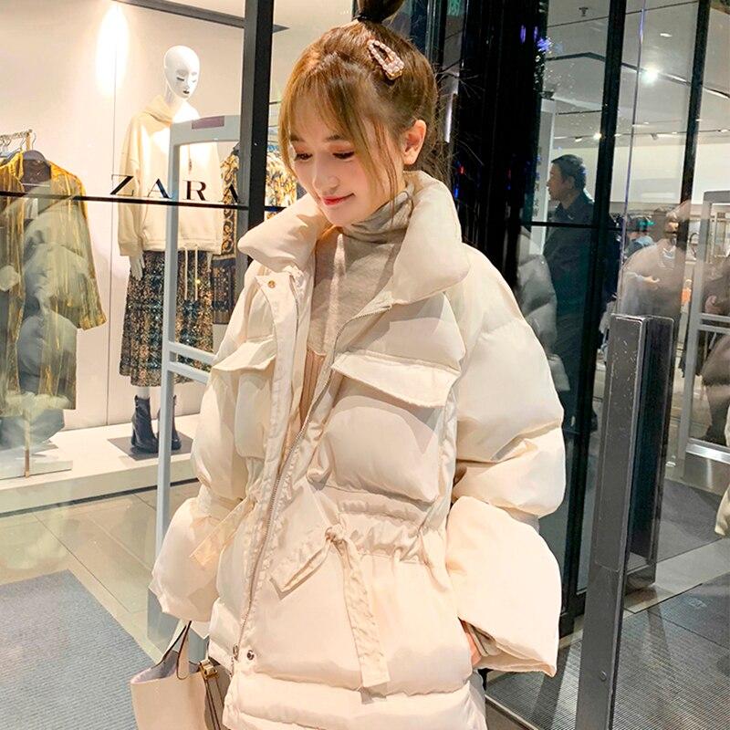 귀여운 핑크 코튼 패딩 여성의 겨울 2019 새로운 느슨한 허리 두꺼운 짧은 빵 칼라 자켓-에서베이식 쟈켓부터 여성 의류 의  그룹 3