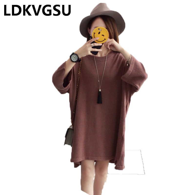 2018 Spring Autmn New Women Knitted Sweater Dress Korean Back Lace Bow Nine Sleeve Solid Color Knit Dress Loose Large Size Is249 ny collection new blue women s size large l wide knit v neck sweater $60 083