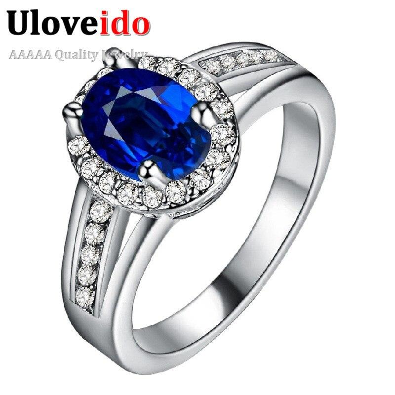 Uloveido Anel anillo de piedra azul anillos de boda anillo de cristal de la  vendimia 2016 21936f7d117