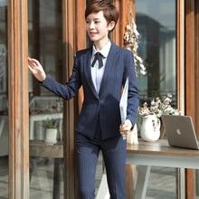 Fashion stripe Blazers Ladies Two Piece sets Trend Fashion Women Suits