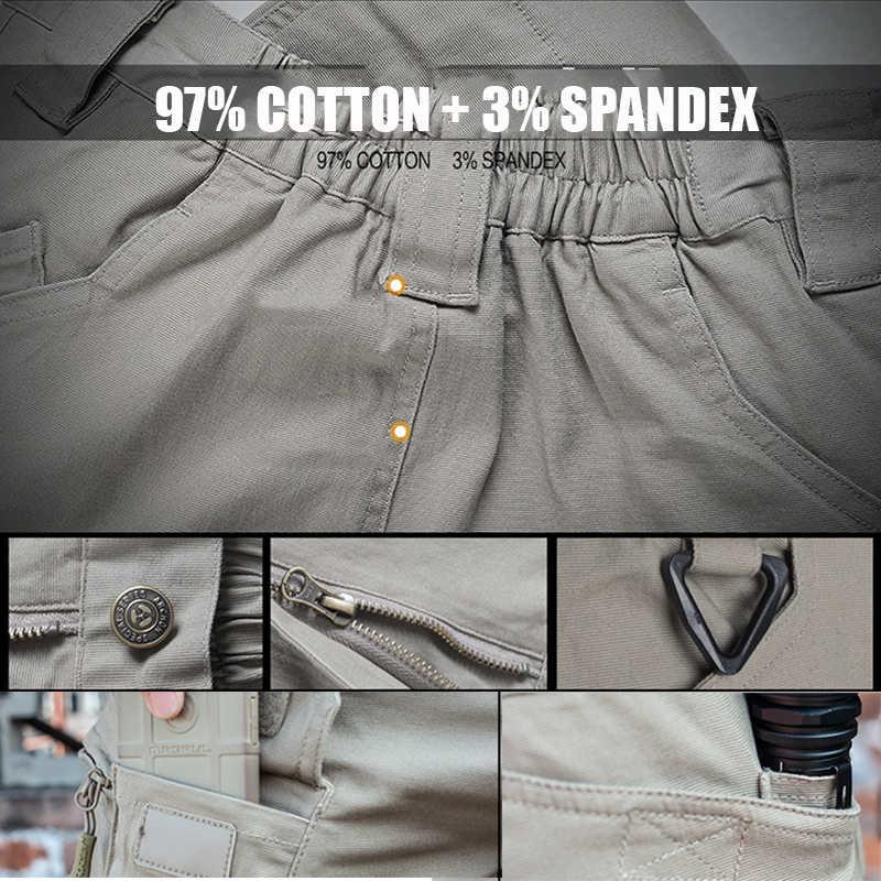 IX9 miasto taktyczne spodnie w stylu cargo mężczyźni bojowe SWAT wojskowe spodnie militarne bawełniane wiele kieszenie Stretch elastyczne mężczyzna spodnie typu casual XXXL