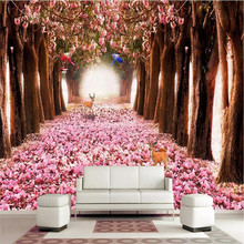 Deer romantic cherry blossom 3D fashion TV background wall professional production wallpaper mural custom home