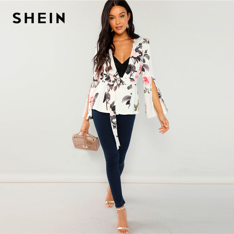 65f7f47a98 ... SHEIN Multicolor Floral Split Sleeve Belted Outerwear Elegant Workwear  Long Sleeve Wrap Blazer Women Autumn Office Ladies Coats. -29%. Click to  enlarge