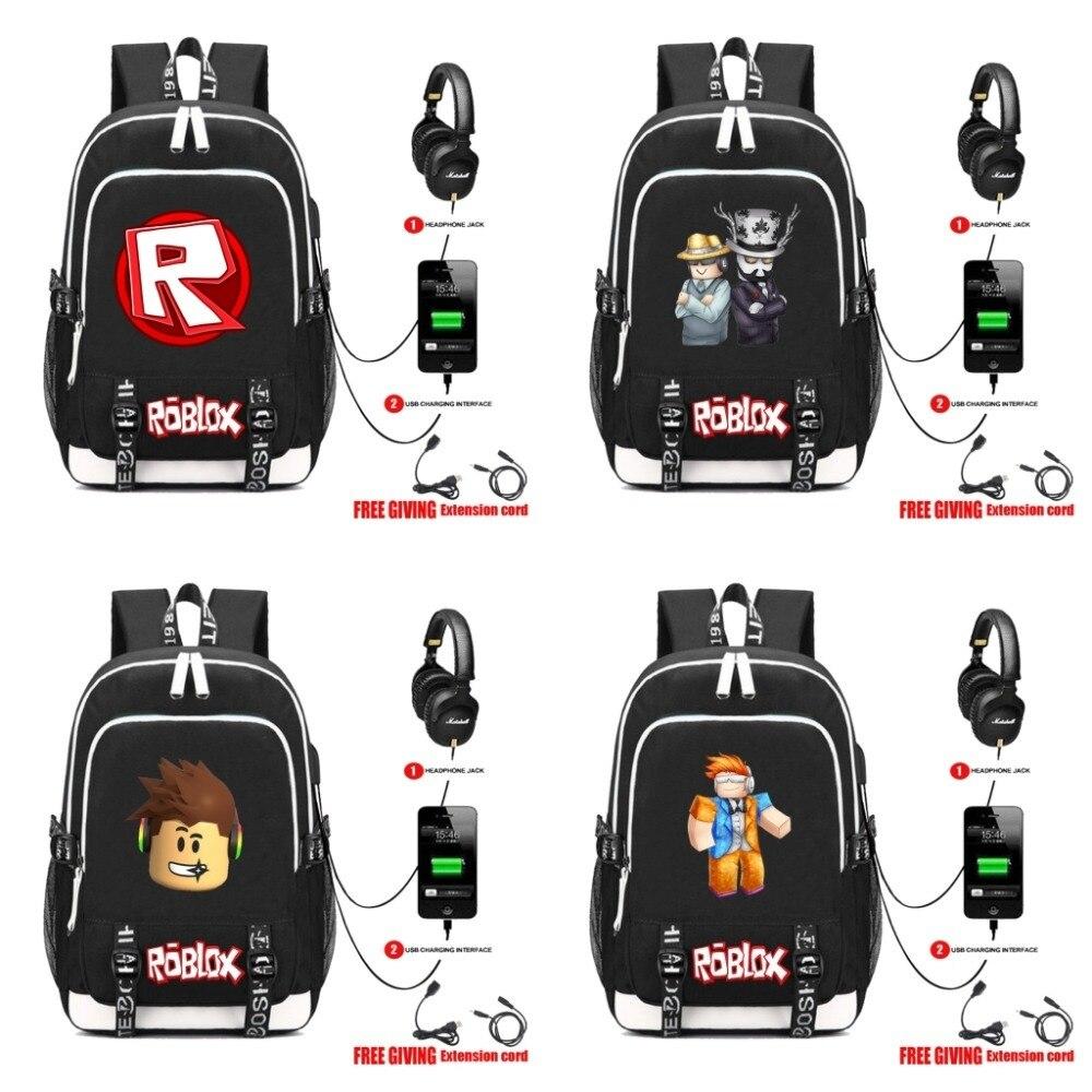 Game Roblox multifunction USB charging backpack Kids Boys Children School  Bags teenagers Men travel Laptop Bags