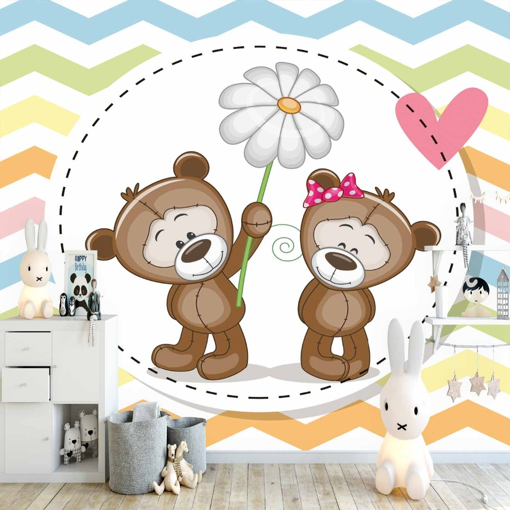 Else Blue Green Lines Teddy Bears Daisy Flowers 3d Print Cartoon Cleanable Fabric Mural Kids Children Room Background Wallpaper