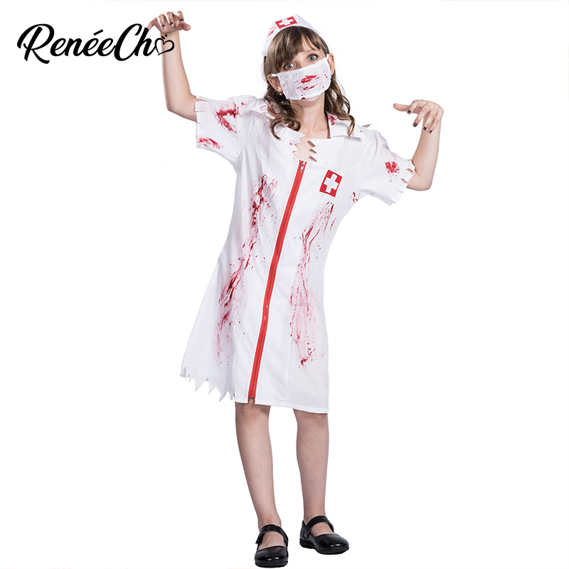 Halloween Costume For Kids Girl Bloody Nurse Costume Child Vampire Cosplay scary doctor zombie costume halloween for Carnival