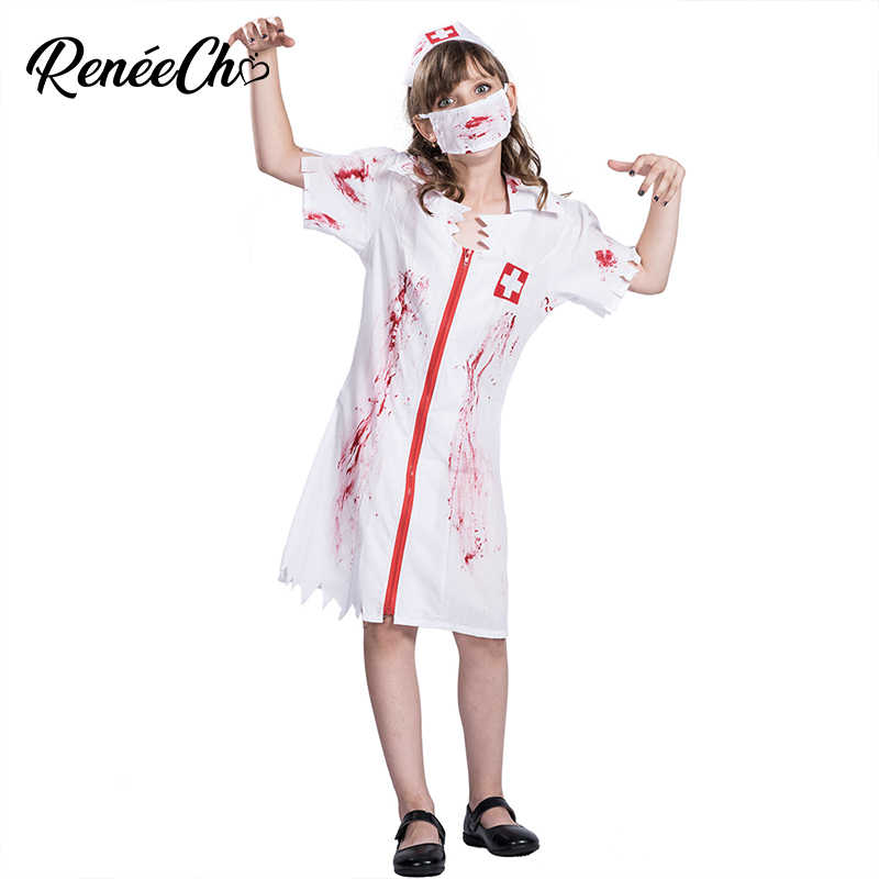 5ad25d2ad88a4 Halloween Costume For Kids Girl Bloody Nurse Costume Child Vampire Cosplay  scary doctor zombie costume halloween
