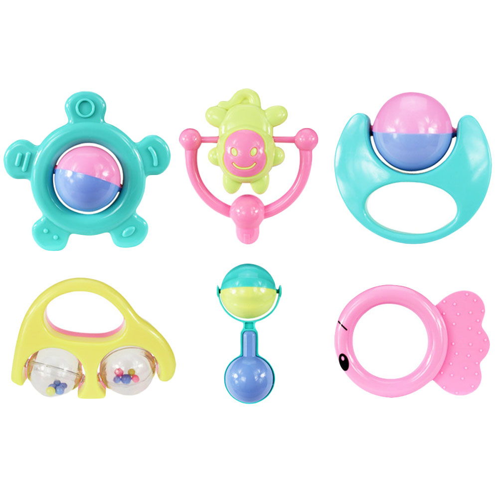 6pcs/set Kids Funny Bed Toys Baby Rattles Plastic Hand Shake Bell Ring Children Early Learning Educational Toys