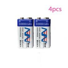 4 шт./лот большой емкости 9 В 1000 мАч литий-ионный аккумулятор 6F22 перезаряжаемый аккумулятор детектор игрушка аккумуляторная батарея