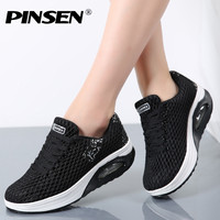PINSEN Women Flat Platform Shoes Woman Moccasin Zapatos Mujer Platform Sandals Slip On Ladies Shoes Casual